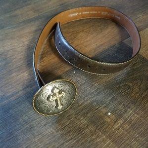 nacona leather rhinestone silver buckle